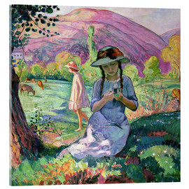 Acrylic print  Young Girl picking Flowers, 1910 - Henri Lebasque
