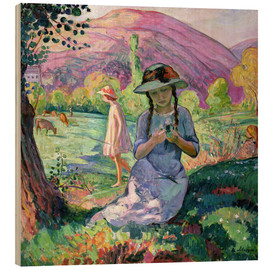 Wood print  Young Girl picking Flowers, 1910 - Henri Lebasque