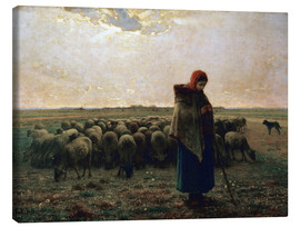 Canvas print  The shepherdess - Jean-François Millet