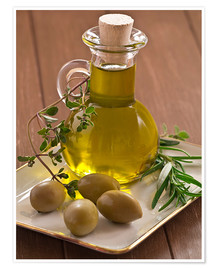 Premium poster  Olive oil and olives - Edith Albuschat
