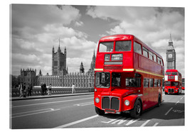 Acrylic print  Westminster Bridge and Red Buses - Melanie Viola