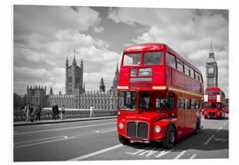 Foam board print  Westminster Bridge and Red Buses - Melanie Viola