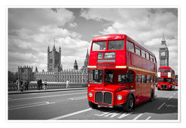 Premium poster  Westminster Bridge and Red Buses - Melanie Viola