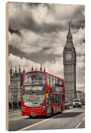 Wood print  Big Ben and Red Bus - Melanie Viola