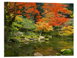 Foam board print  Japanese garden in autumn with red maple tree - Jan Christopher Becke