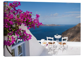 Canvas print  Hotel terrace with pink flowers and stunning views - Bill Bachmann