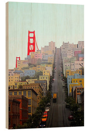 Wood print  San Francisco and Golden Gate Bridgee - John Morris