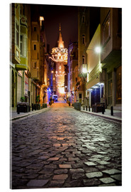 Acrylic print  The famous Galata-Tower at night (Istanbul/Turkey) - gn fotografie