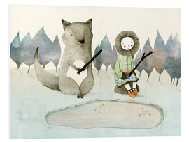 Foam board print  The little Inuit girl and the wolf - Judith Loske