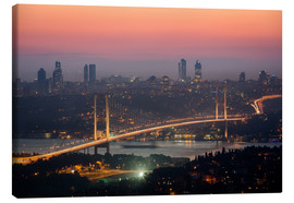 Canvas print  Bosporus-Bridge at Night (Istanbul / Turkey) - gn fotografie
