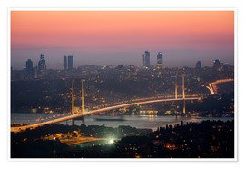 Premium poster Bosporus-Bridge at Night (Istanbul / Turkey)