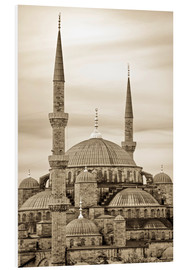 Foam board print  the blue mosque in sepia (Istanbul - Turkey) - gn fotografie