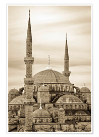 Premium poster  the blue mosque in sepia (Istanbul - Turkey) - gn fotografie