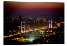 Acrylic print  Bosporus-Bridge at night - pink (Istanbul / Turkey) - gn fotografie