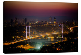 Canvas print  Bosporus-Bridge at night - pink (Istanbul / Turkey) - gn fotografie