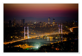 Premium poster Bosporus-Bridge at night - pink (Istanbul / Turkey)