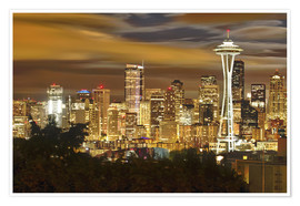 Premium poster  Nightly skyline of Seattle - Christopher Reed