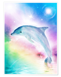 Premium poster  Rainbow dolphin - Dolphins DreamDesign
