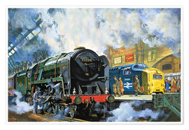 Premium poster  Evening Star, the last steam locomotive and the new diesel-electric Deltic - Harry Green