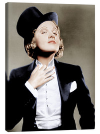 Canvas print  Marlene Dietrich with a suit and cylinder
