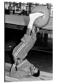 Aluminium print  Joe Frazier during training with a medicine ball
