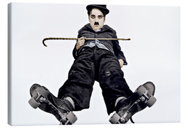 Canvas print  Charlie Chaplin with roller skates