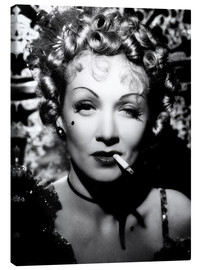 Canvas print  Marlene Dietrich with a cigarette