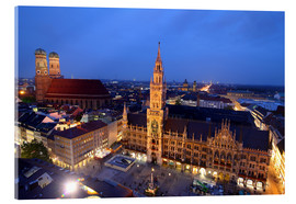 Acrylic print  Church of our Lady and the new town hall in Munich at night - Buellom