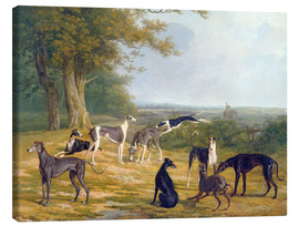 Canvas print  Nine Greyhounds on a landscape - Jacques Laurent Agasse