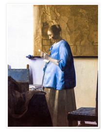 Premium poster  Woman reading a Letter - Jan Vermeer