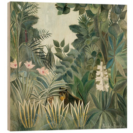 Wood print  Equatorial jungle - Henri Rousseau