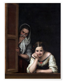 Premium poster  Women from Galicia at the window - Bartolome Esteban Murillo