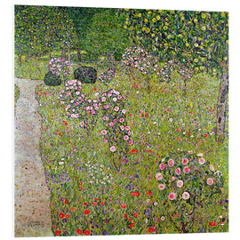 Foam board print  Orchard with roses - Gustav Klimt