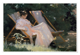Premium poster Roses. Marie Krøyer seated in the deckchair in the garden by Mrs Bendsen's house, detail