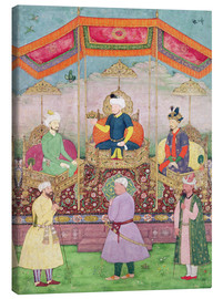 Canvas print  Mughal Emperor Babur and his son, Humayan, Indian miniature from Rajasthan, 16th century - Dip Chand