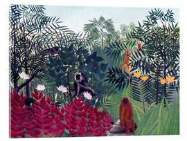Acrylic print  Tropical forest with monkeys - Henri Rousseau