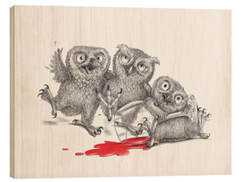 Wood print  Party - Tipsy Owls - Stefan Kahlhammer