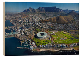 Wood print  Cape Town Stadium and Table Mountain - David Wall