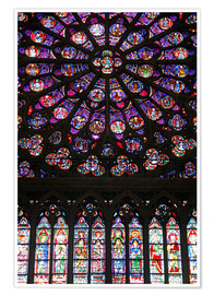 Premium poster Stained glass windows of Notre-Dame Cathedral.