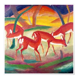 Premium poster  Red deer - Franz Marc