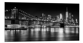 Foam board print  Night Skylines NEW YORK II black and white - Melanie Viola