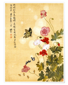 Premium poster  Poppies and Butterflies - Ma Yuanyu