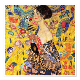 Premium poster  Lady with a fan - Gustav Klimt