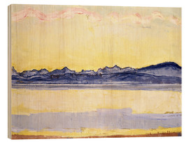Wood print  Mont Blanc with red clouds - Ferdinand Hodler