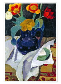 Premium poster  Still life with tulips in a blue pot - Paula Modersohn-Becker
