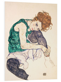 Foam board print  Seated woman with bent knee - Egon Schiele