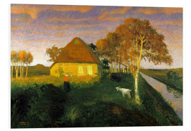 Foam board print  Moor cottage in the evening sun - Otto Modersohn