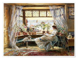 Premium poster  Reading at the window - Charles James Lewis
