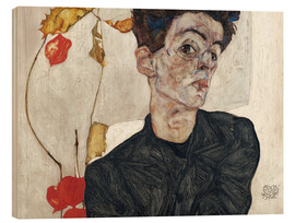 Wood print  Egon Schiele with Physalis - Egon Schiele