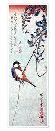 Premium poster  Swallow sitting on a branch of a wisteria - Utagawa Hiroshige